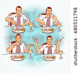 man eating fish | Shutterstock . vector #680521798