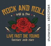 Stock vector rock and roll slogan fashion patch rose with leaves fashion patches badges live fast die young 680529364
