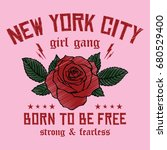 Stock vector new york city girl gang embroidery rose slogan fashion patch rose with leaves fashion patches 680529400