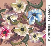 tropical flowers background... | Shutterstock .eps vector #680532349