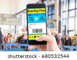 air ticket on the phone. modern ... | Shutterstock . vector #680532544