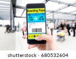 air ticket on the phone. modern ... | Shutterstock . vector #680532604