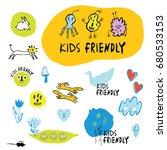 a set of children's drawings ... | Shutterstock .eps vector #680533153