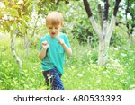 carefree boy catching insects...   Shutterstock . vector #680533393