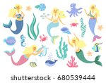 underwater life collection.cute ... | Shutterstock .eps vector #680539444