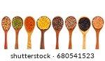 Various Lentils In Wooden...