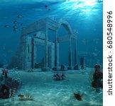 3d rendering of the sunken... | Shutterstock . vector #680548996