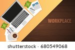 workplace office  co working... | Shutterstock .eps vector #680549068