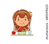 girl eating salad | Shutterstock .eps vector #680549623