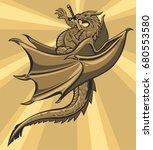 Vector Slain Dragon With A...