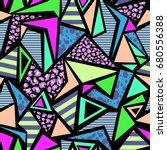 neon triangle print   seamless... | Shutterstock .eps vector #680556388