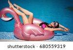 beautiful brunette with a... | Shutterstock . vector #680559319