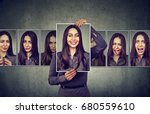 masked woman expressing... | Shutterstock . vector #680559610