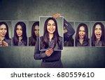 masked woman expressing... | Shutterstock . vector #680559610