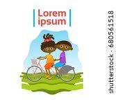 little kids riding tandem...   Shutterstock .eps vector #680561518