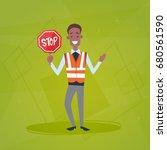 traffic policeman guard holding ... | Shutterstock .eps vector #680561590