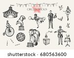retro circus performance set... | Shutterstock .eps vector #680563600