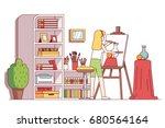 art painter artist woman... | Shutterstock .eps vector #680564164