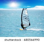 a windsurfing in the sea... | Shutterstock . vector #680566990