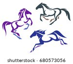 Stock vector stylized horses 680573056