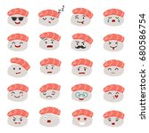 sashimi emoji set. emoji sushi... | Shutterstock . vector #680586754