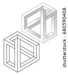 impossible figures  realistic... | Shutterstock .eps vector #680590408
