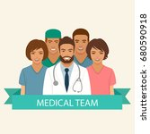 medical team  doctor nurse and... | Shutterstock .eps vector #680590918