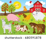 vector set includes farm... | Shutterstock .eps vector #680591878
