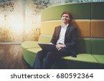 handsome attractive smiling...   Shutterstock . vector #680592364