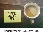 quick tips. note with writing ... | Shutterstock . vector #680595238