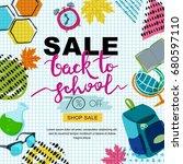 vector back to school sale... | Shutterstock .eps vector #680597110