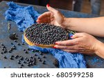 woman hands holding french... | Shutterstock . vector #680599258