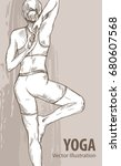 hand sketch of a girl doing...   Shutterstock .eps vector #680607568