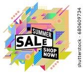 summer sale geometric style web ... | Shutterstock .eps vector #680609734