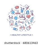 healthy lifestyle vector... | Shutterstock .eps vector #680613463