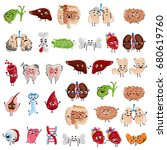 happy and sad organs cartoon... | Shutterstock .eps vector #680619760