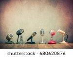 retro old microphones for press ... | Shutterstock . vector #680620876