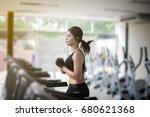 asian women running sport shoes ... | Shutterstock . vector #680621368