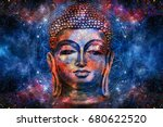 head of lord buddha digital art ... | Shutterstock . vector #680622520