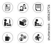 set of 9 editable office icons. ... | Shutterstock .eps vector #680629726