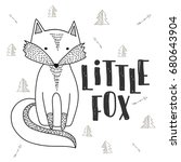 fox poster. hand drawn cute... | Shutterstock .eps vector #680643904