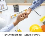 contractor successfull teamwork.... | Shutterstock . vector #680644993