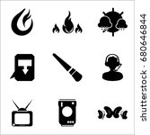 set of 9 mixed icons such as... | Shutterstock .eps vector #680646844