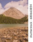 Small photo of Landscape of Gusty Peak Mountain with Chester Lake in the foreground, Kananaskis, Alberta