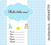 baby arrival announcement card... | Shutterstock .eps vector #680668759
