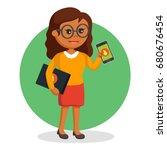 african geek girl with laptop... | Shutterstock .eps vector #680676454