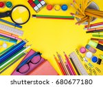 back to school flat background. ... | Shutterstock . vector #680677180