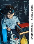 little boy doing experiments in ... | Shutterstock . vector #680691088
