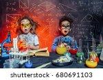 funny little children doing... | Shutterstock . vector #680691103