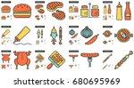 barbecue vector line icon set... | Shutterstock .eps vector #680695969
